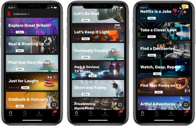 Nowa sekcja Kolekcje w aplikacji Netflix (iOS)