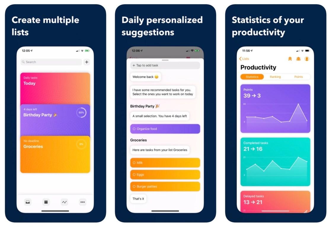 Zrzuty ekranu z aplikacji mobilnej Planny 2
