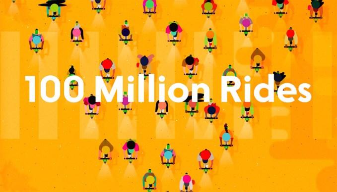 100 milionów przejazdów Lime