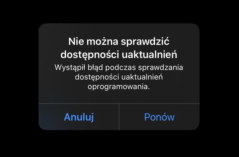 Błąd podczas sprawdzania aktualizacji systemu iOS lub iPadOS: