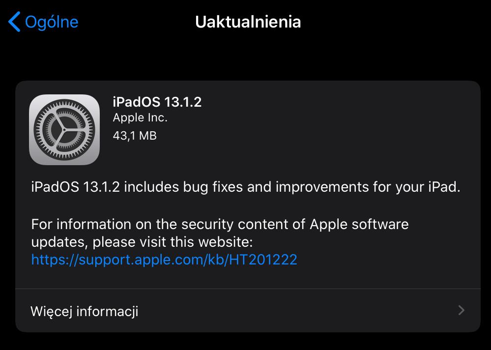 Uaktualnienie iPadOS 13.1.2
