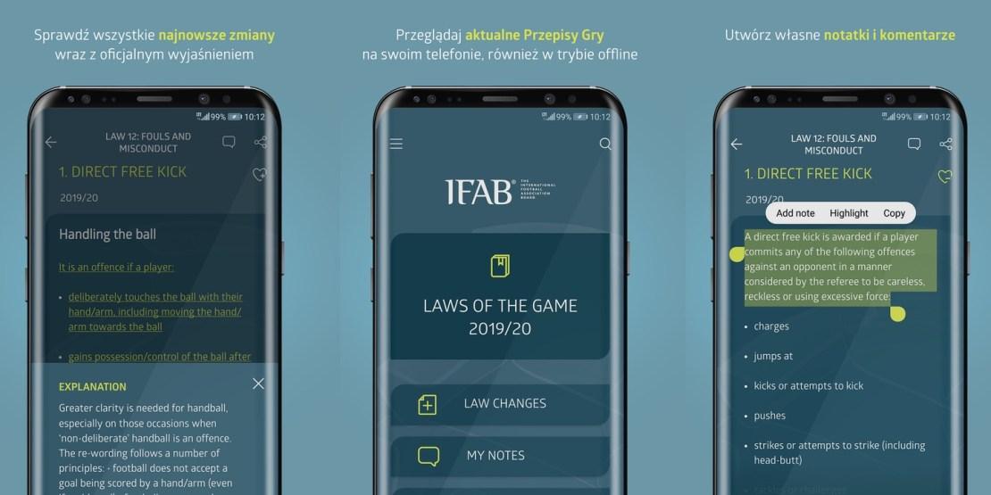 Zrzuty ekranu z aplikacji Przepisy Gry (Laws of the Game) The IFAB