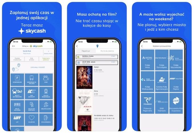 Zrzuty ekranu z aplikacji mobilnej Skycash