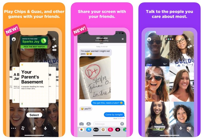 """Zrzuty ekranu z aplikacji mobilnej """"Houseparty"""""""