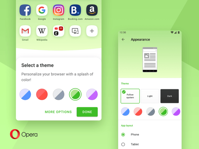Kolory w przeglądarce Opera 54 na Androida