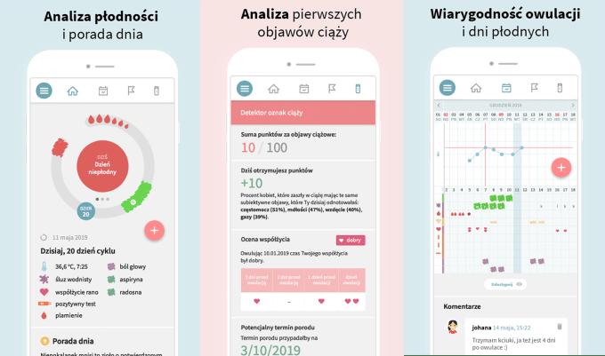 """Zrzuty ekranu z aplikacji mobilnej """"OvuFriend - kalendarz dni płodnych, miesiączkowy"""""""