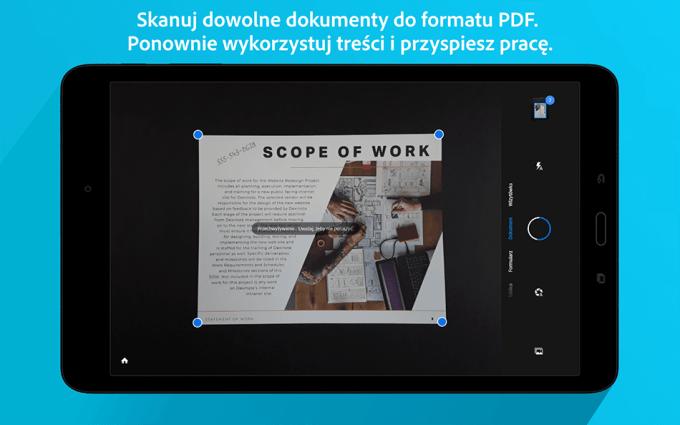Aplikacja do skanowania dokumentów Adobe Scan