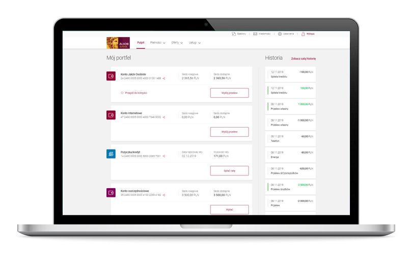 Nowe funkcje w systemie bankowości internetowej Alior Online