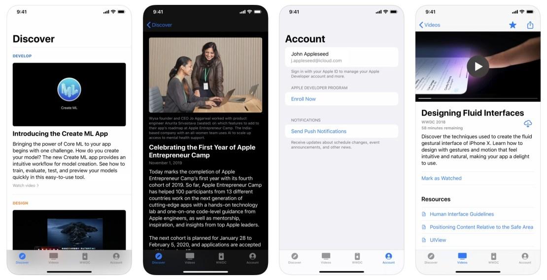Zrzuty ekranów z aplikacji Apple Developer na iPhone'a