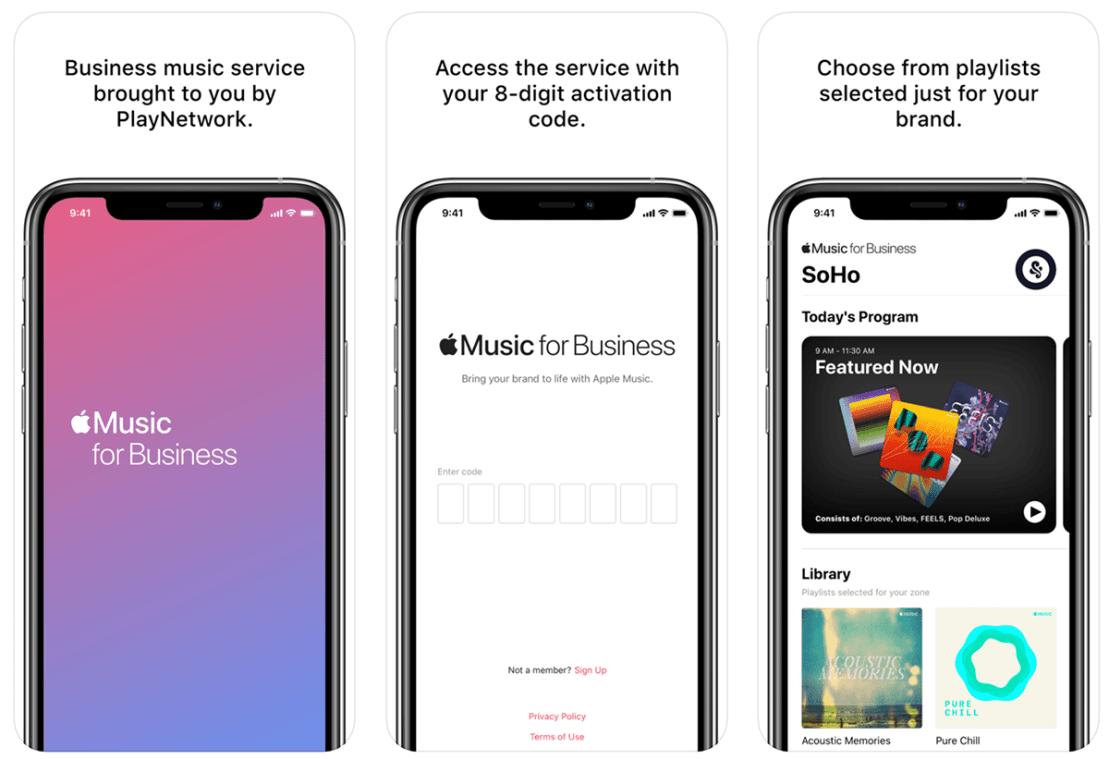 """Zrzuty ekranu z aplikacji mobilnej """"Apple Music for Business"""""""