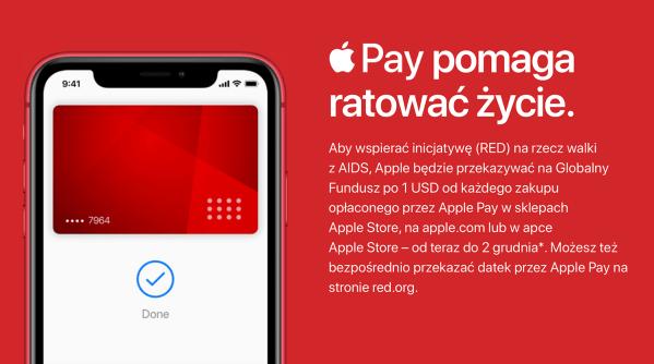 Transakcje Apple Pay wpłyną na kwotę wsparcia dla fundacji (RED)