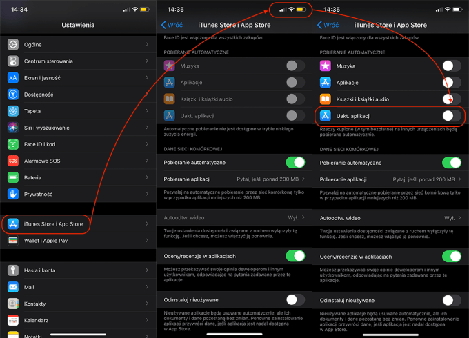 Wyłączanie uaktualnień automatycznych w sklepie App Store (iOS 3)