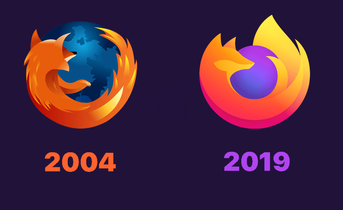 15 lat Firefoxa – ikona z 2004 i 2019 roku