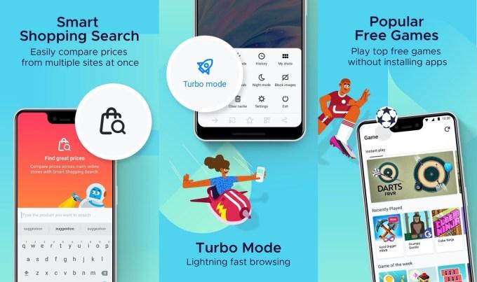 Zrzuty ekranu z przeglądarki Firefox Lite 2.0