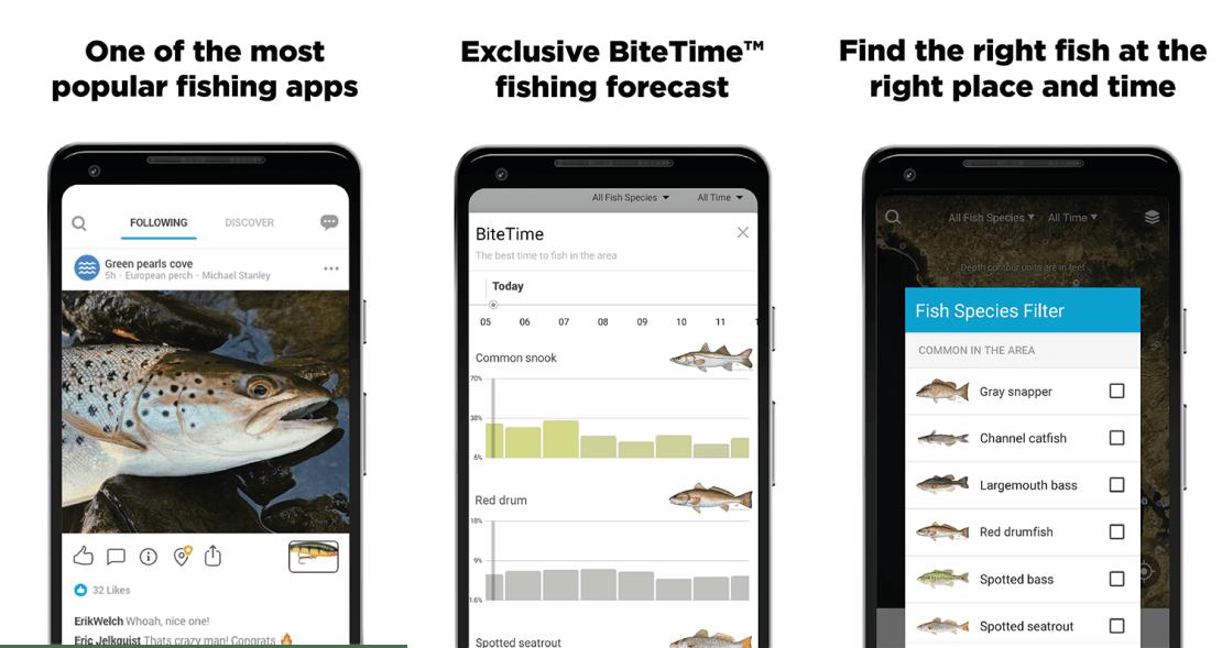 """Zrzuty ekranu z aplikacji mobilnej """"Fishbrain - Fishing App"""""""