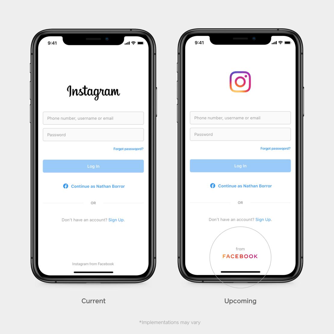 Logo Facebooka w aplikacji Instagram