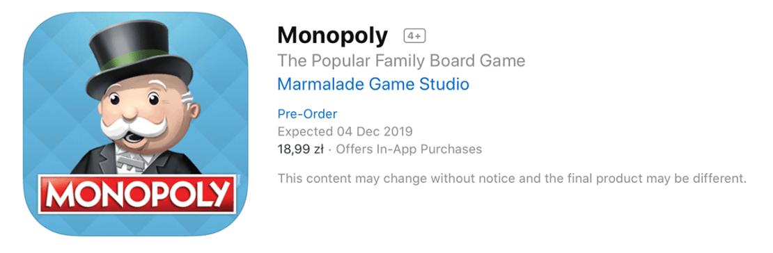 Monopoly w sklepie App Store