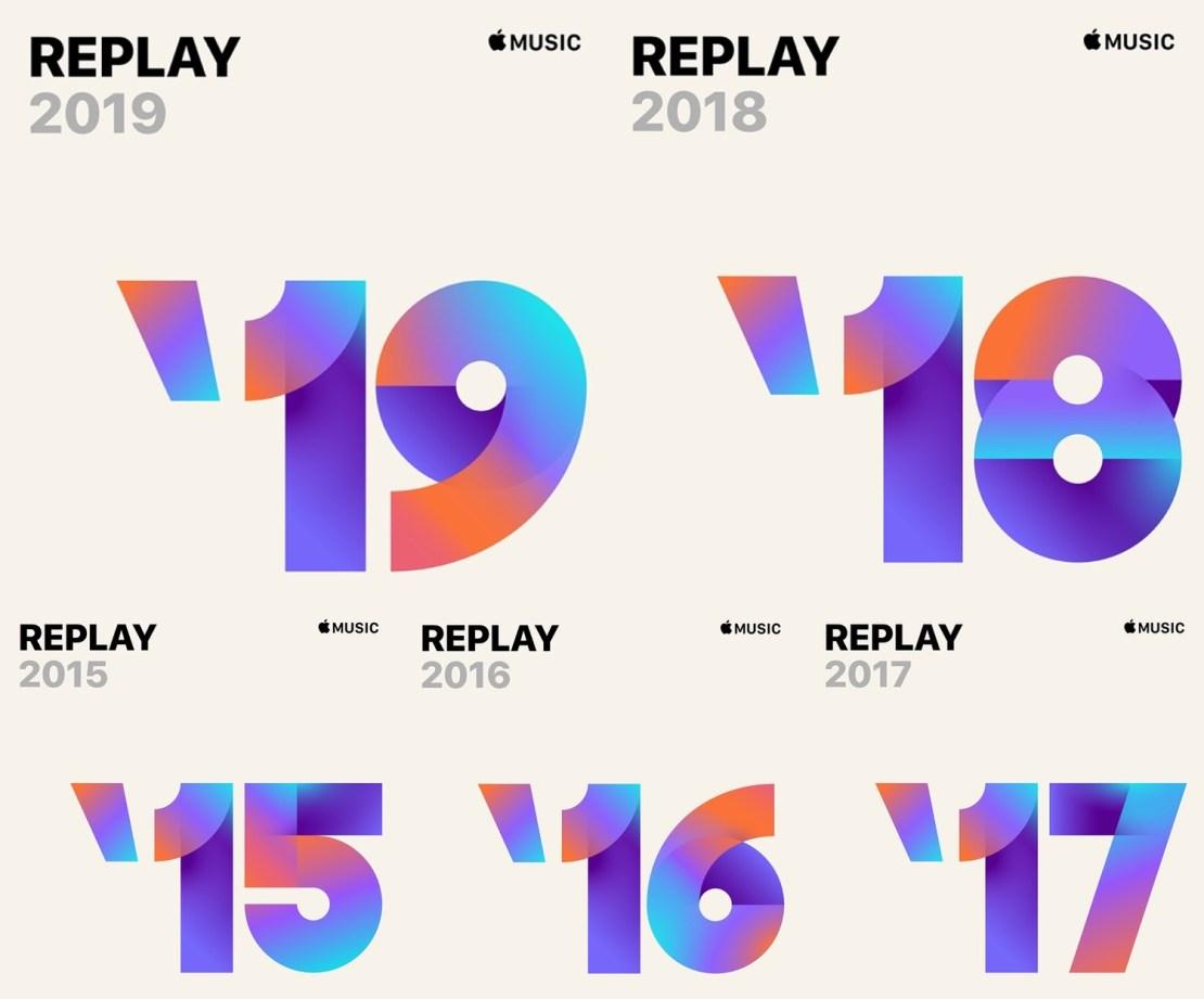Okładki playlisty Apple Music Replay