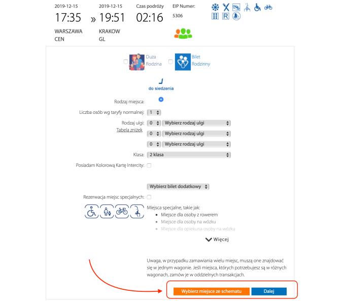 Screen: przycisk Wybierz miejsce ze schematu na PKP Intercity