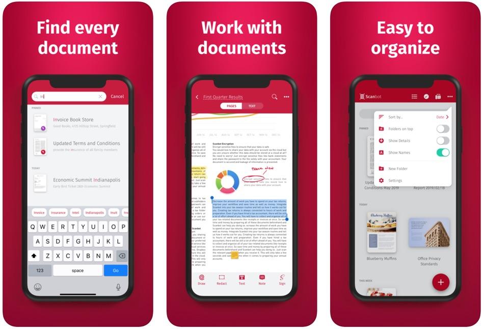 Zrzuty ekranu z aplikacji mobilnej Scanbot