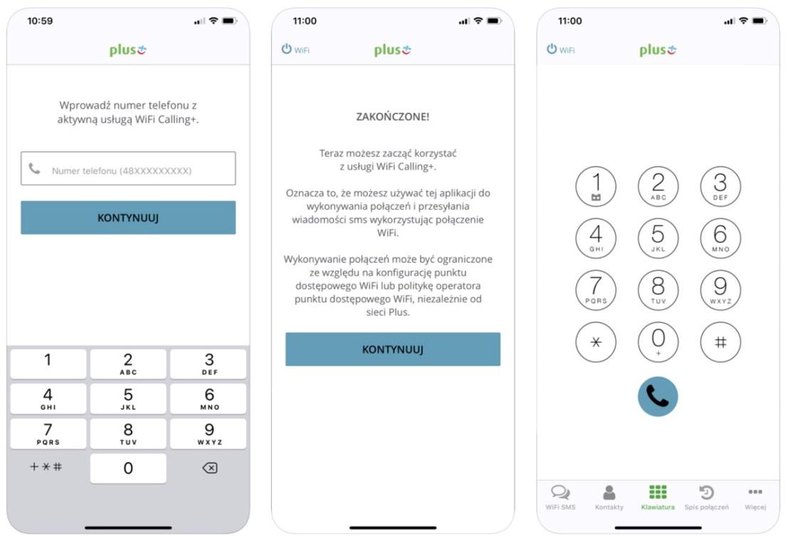 Zrzuty ekranu z aplikacji mobilnej WiFi Calling+