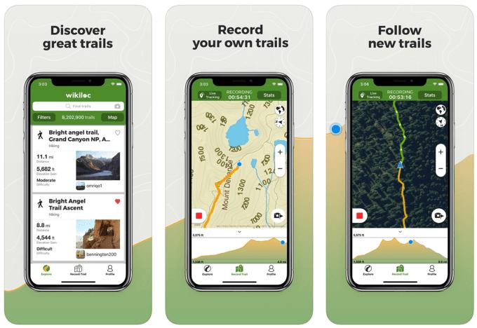 """Zrzuty ekranu z aplikacji """"Wikiloc Outdoor Navigation GPS"""""""