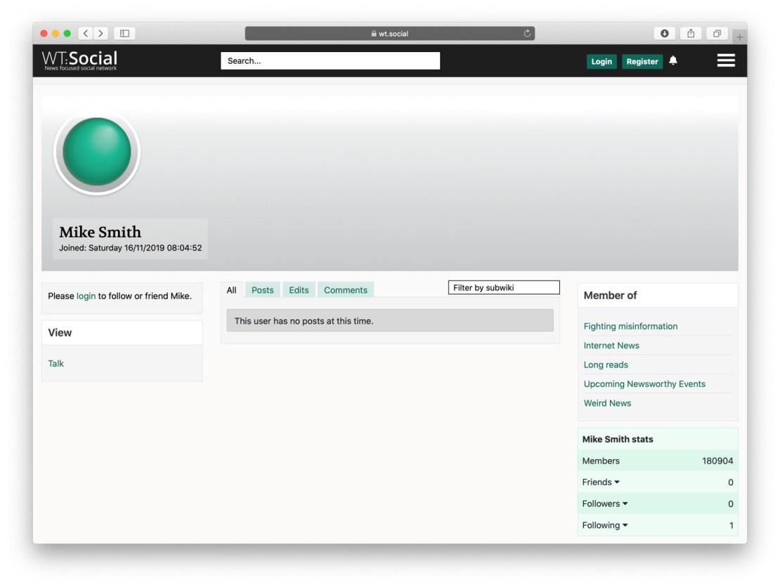 Przykładowy profil w serwisie WT:Social