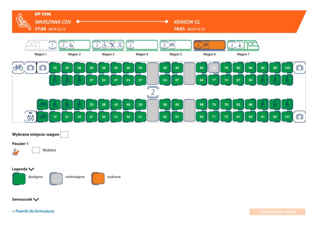 Wybór miejsc ze schematu w PKP Intercity (zrzut ekranu)