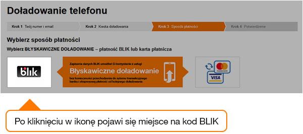 Błyskawiczne doładowanie w Orange na kartę (BLIK)