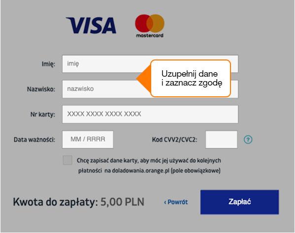 Błyskawiczne doładowanie w Orange na kartę (karta płatnicza)