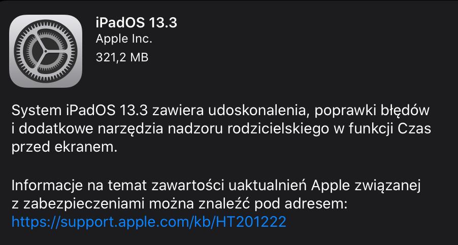iPadOS 13.3 (uaktualnienie systemu OTA)