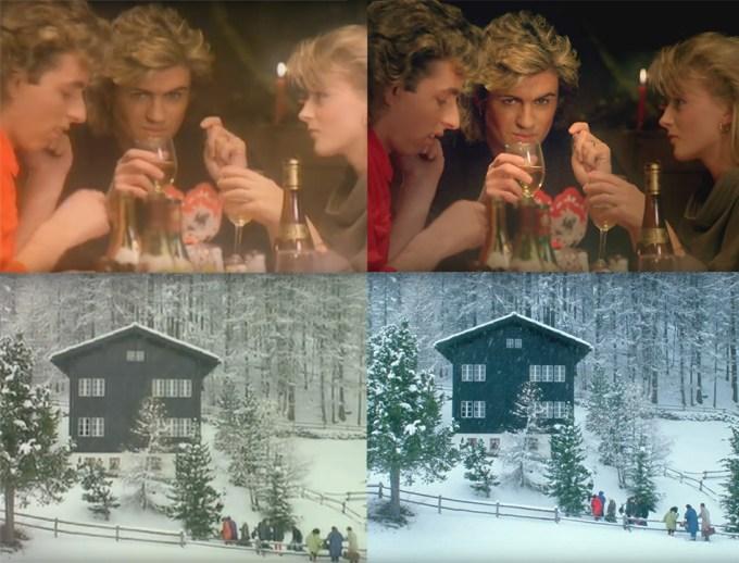 """""""Last Christmas"""" zespołu Wham! (po lewej oryginalny, po prawej zremasterowana wersja w 4K)"""