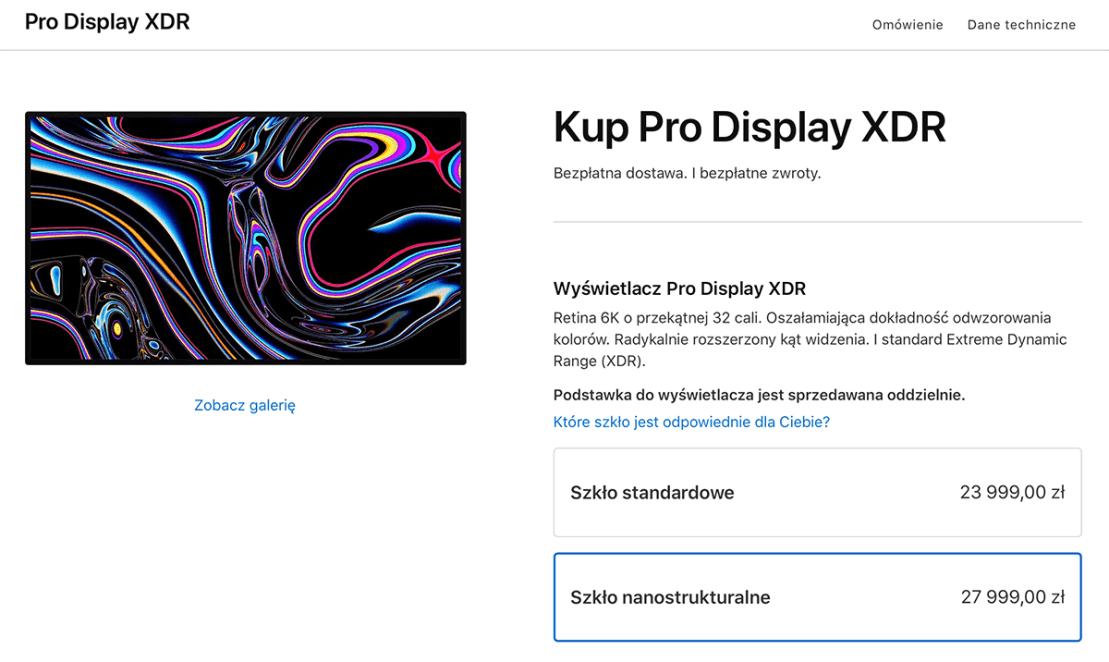 Cena podstawowa wyświetlacza Pro Display XDR od Apple'a