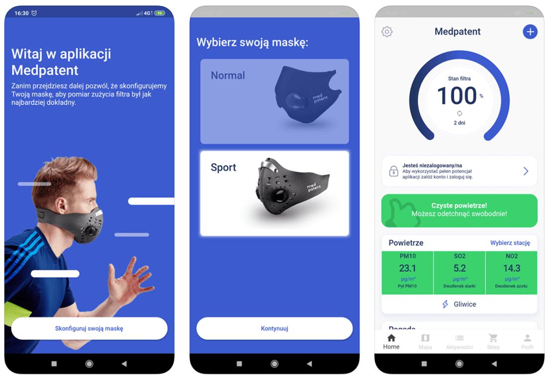 Zrzuty ekranu z aplikacji mobilnej MedPatent