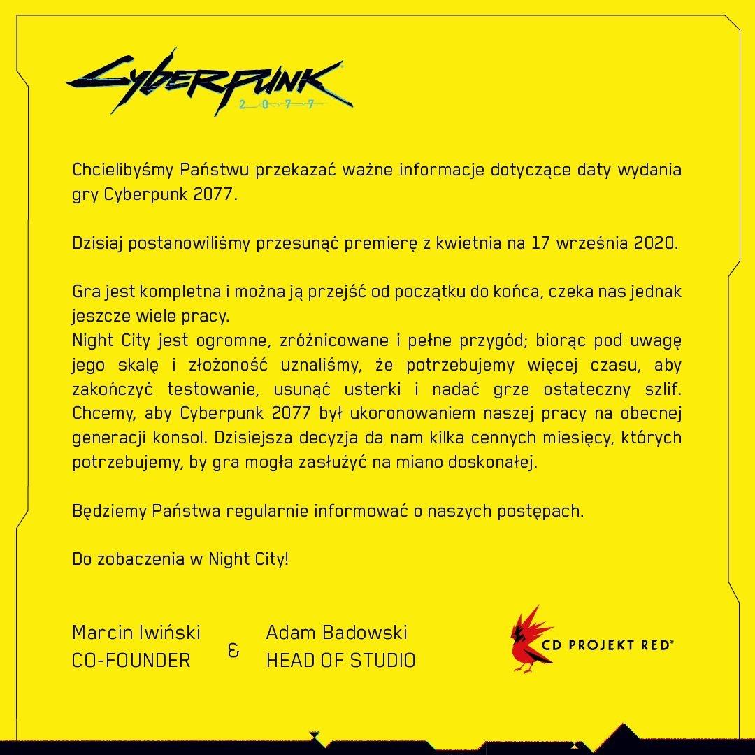"""Informacjo o przełożeniu premiery gry """"Cyberpunk 2077"""" na 17 września 2020 r. (wersja polska)"""
