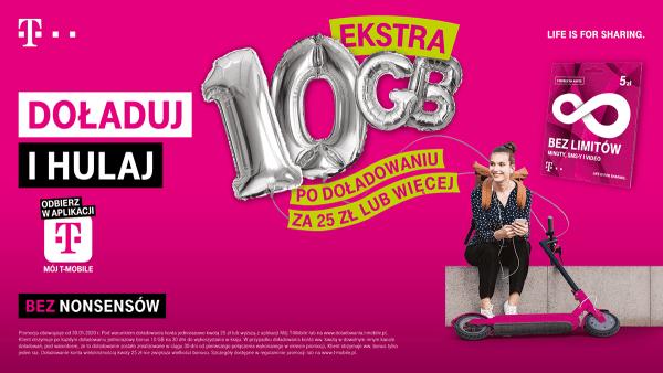 Doładuj i hulaj T-Mobile – 10 GB ekstra przy doładowaniu za 25 zł