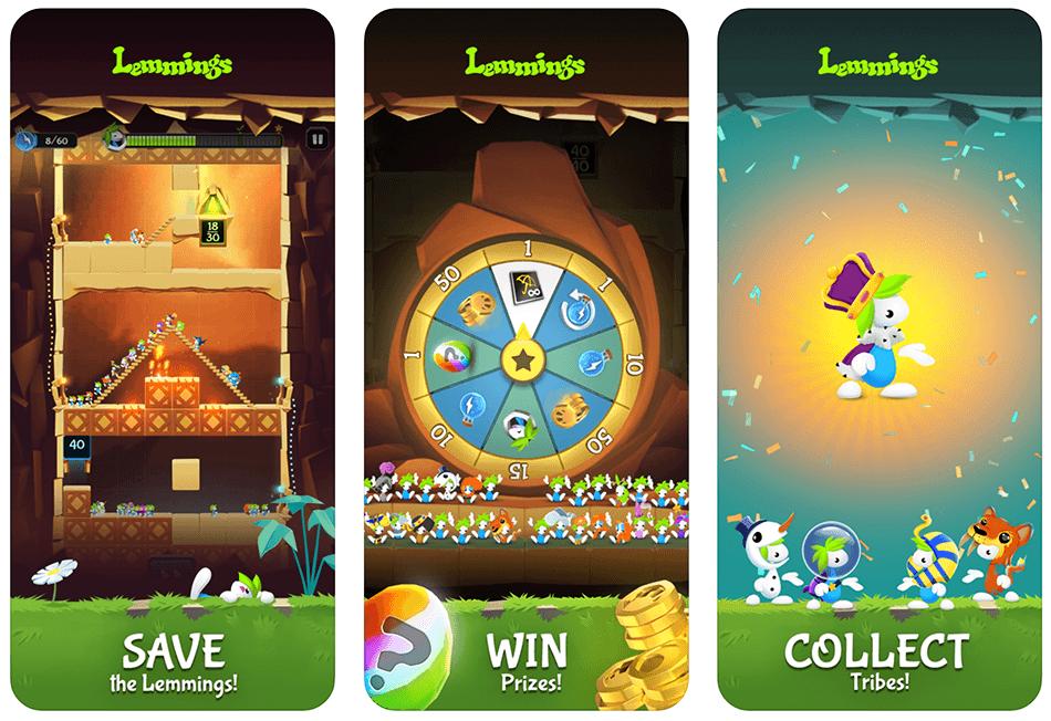 Zrzuty ekranu z gry mobilnej Lemmings: The Puzzle Adventure