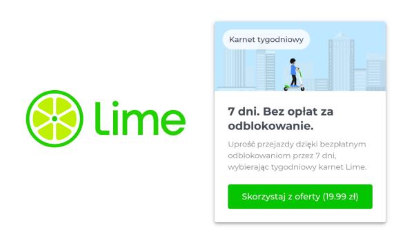 Nielimitowana liczba odblokowywań hulajnóg Lime z tygodniowym abonamentem LimePass