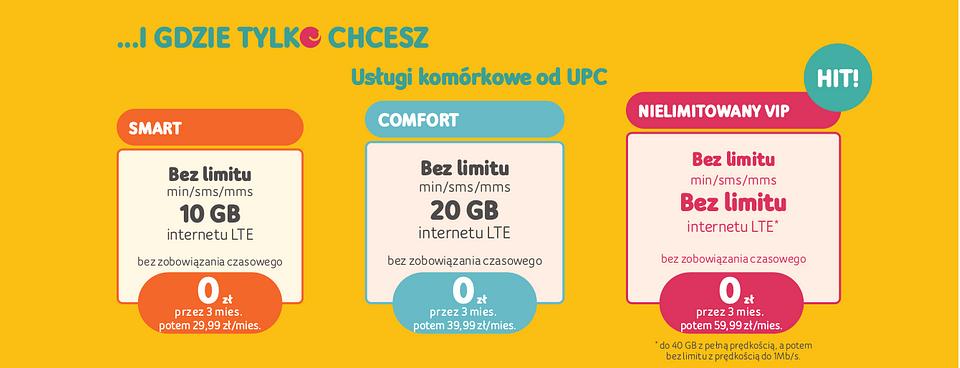 Cennik UPC: usługi komórkowe