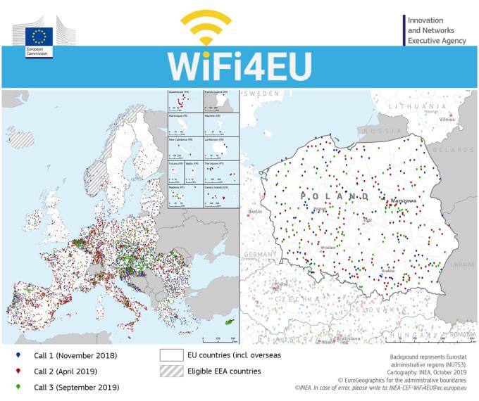 Mapa dostępu do darmowej sieci WiFi4EU (Europa i Polska)