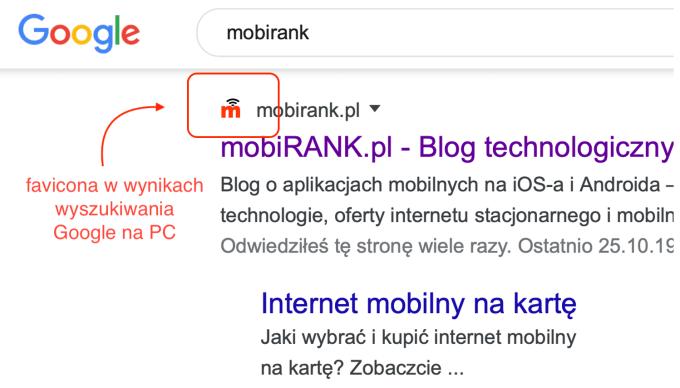 Wyniki wyszukiwania Google na komputerze z faviconą strony