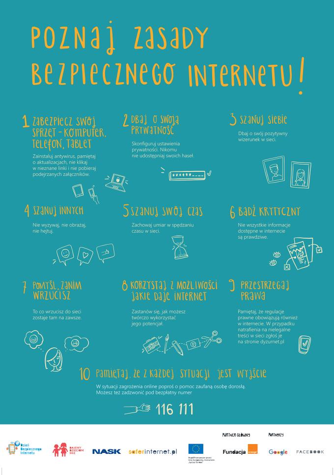 Poznaj zasady Bezpiecznego Internetu - plakat DBI 2020