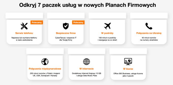 7 paczek usług w nowych Planach Firmowych Orange