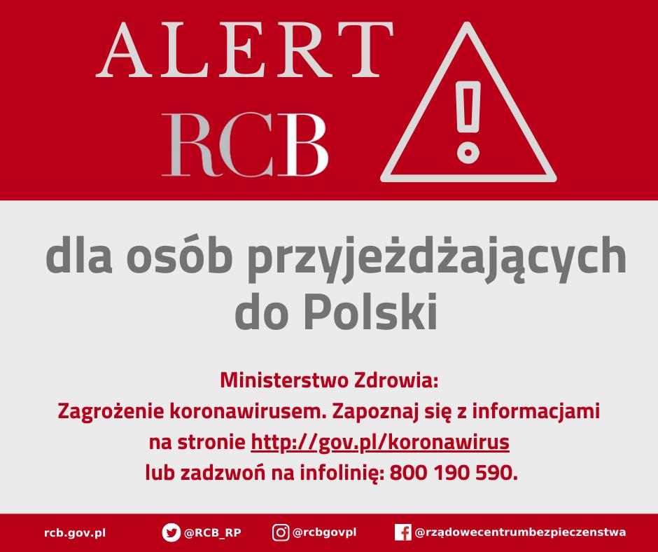 Alert RCB o koronawirusie dla osób przyjeżdżających do Polski