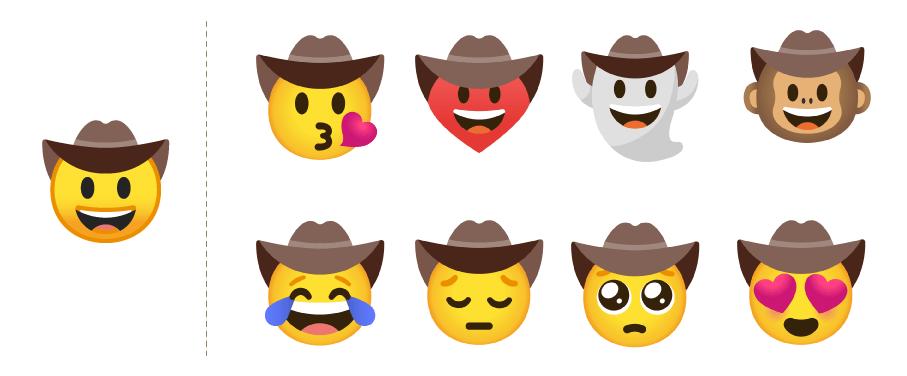 Przykłady gotowych kombinacji Emoji Kitchen dla Kowboja w kapeluszu