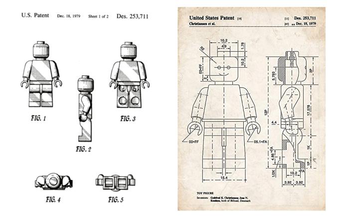 Rysunek patentowy minifigurki LEGO z 1979 roku