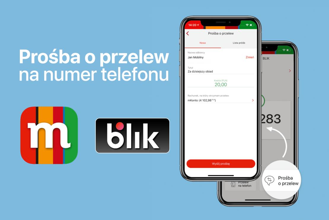 Prośba o przelew na numer telefonu BLIK w aplikacji mBanku