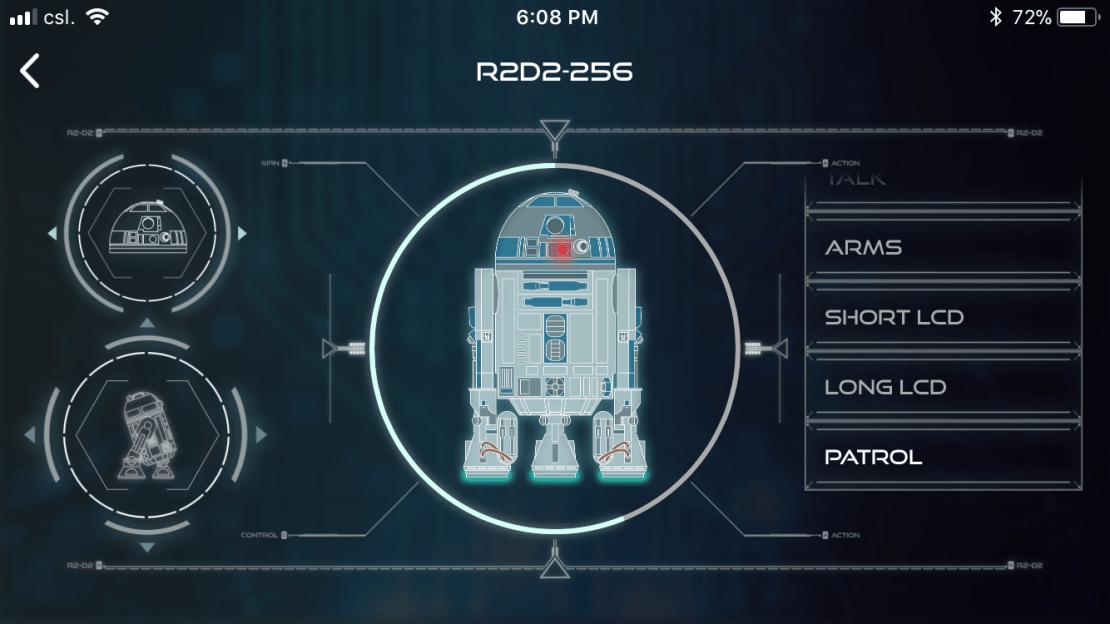 Screen aplikacji mobilnej do sterowania robotem R2-D2 (De Agostini)