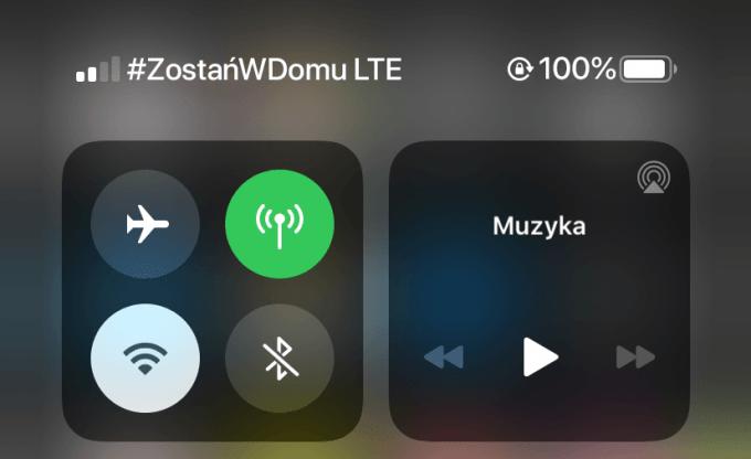 Status sieci komórkowej LTE z hashtagiem #ZostanWDomu