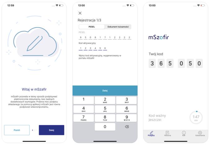 Aplikacja mobilna podpisu elektronicznego mSzafir